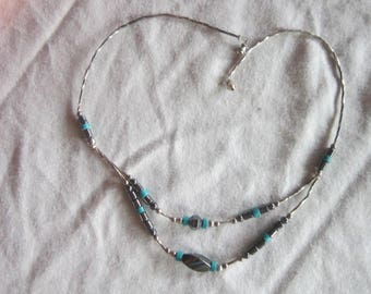 Vintage Native American Western Style Choker Double Strand Necklace Hematite