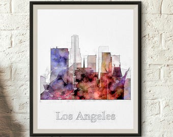 Los Angeles skyline, Art print download, LA watercolor, printable wall art. Digital download, California Poster