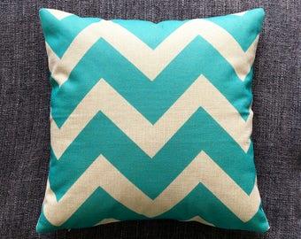 Chevron Blue Geometric Cushion Cover, Pillow Cover, Decorative Cushion, Throw Pillow, 45cm