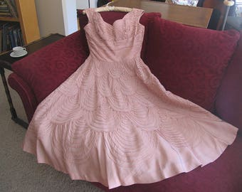 1950s Vintage Pink Taffeta Party Dress, Sleeveless Pink Taffeta Ribboned Formal 50s Party Flare Dress