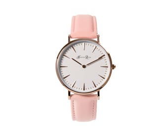 Wrist Watch Ladies and Girls Pink Leather Strap Rose Gold Case White Face Round Watch 38mm Diameter Quartz Movement 18mm Strap