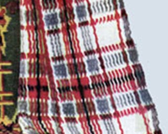 Woven Scotch Plaid Afghan Pattern #5212, Plaid Crochet Pattern, Vintage Pattern