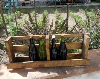 Bottle of wine in pallet