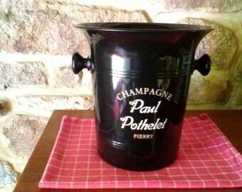 Black Champagne Bucket -  French vintage cooler