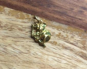 Vintage koala bear charm, gold-plated koala bear pendant, Vintage Australia Koala Bear Gold Plated Charm