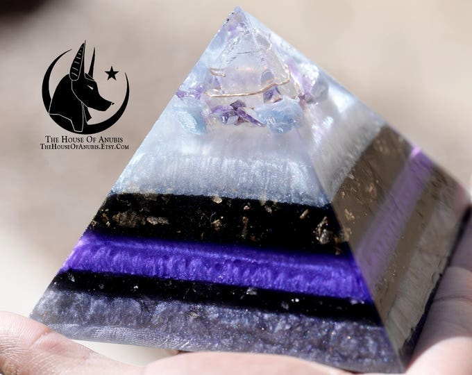 Featured listing image: Orgone Pyramid -Orgone Energy Pyramid - Crystal Pyramid - Healing Crystals - Quartz, Copper, Blue Calcite,  Amethyst, Gold, Shungite