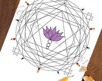 Mandala Coloring Page, Lotus Mandala Coloring Page, Adult Coloring Page