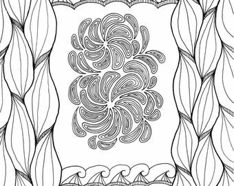 Printable Coloring Page - Random Abstract 2 Instant Digital Download