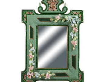 Murano glass mirror glass/mirror/mirror/mirror with beaded flowers/murano glass mirror/glass mirror