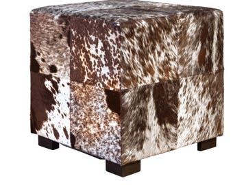 Coat stools made from cow skin / Bullhide square black and white