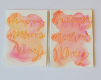Hand Lettered Customizable Mini Watercolor Holiday/Occasion Cards