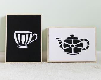 Modern Teapot Decor, Kitchen Wall Decor, Teapot Decor, Home Decor Set, Kitchen Decor, Tea Decor, Tea Art, Teapot and Teacup