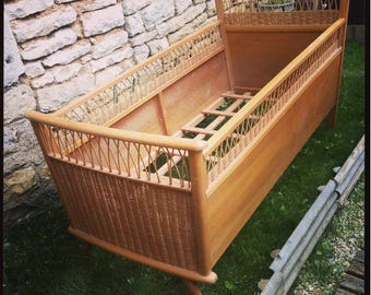 Vintage wicker and wood crib