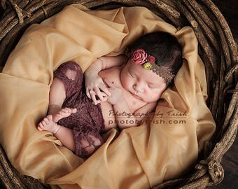 Maroon Lace Newborn Pants with Matching Headband.