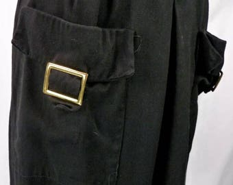 Vintage 50s Black Rayon Pencil Skirt with Brass Buckle Pockets