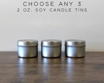 Choose Any 3 Soy Candles Sampler Pack, 2 oz Mini Soy Candle Tins, Scented Soy Wax Candles, Soy Candles Handmade, Wedding Favor Candles