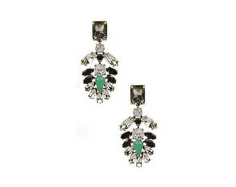 Statement Cluster Dangle Earrings / Rhinestone