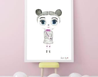 Little Miss Panda Illustrated Watercolor Wall Art Print Nursery Decor