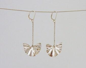 Ginkgo Leaves silver earrings