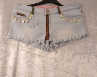 upcycled festival/summer denim shorts size  10