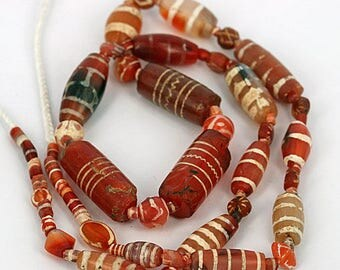 "Ancient ""Etched"" Carnelian & Agate Strand 18""c. 250 BC-650 AD"