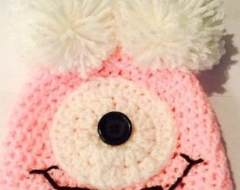 Silly Pink Baby Girl Monster Hat