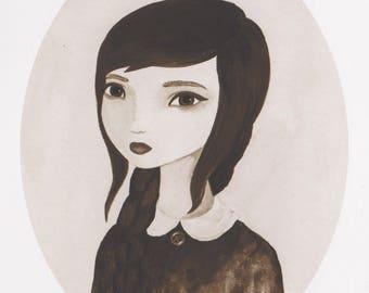 Sepia Art Print, Alternative Wall Art, Portrait Painting, Gothic Home Decor, Creepy Girl Print, Vintage Style Wall Decor