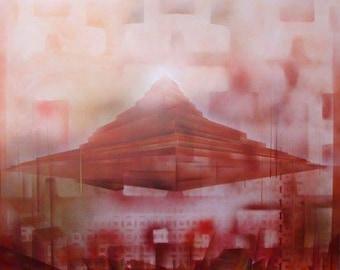 Pyramid spray painted landscape canvas