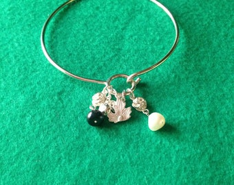 925 Sterling Silver Bangle with Charms