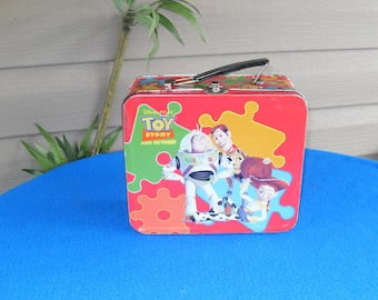 RARE HTF Toy Story Red Jigsaw Metal Lunch Box