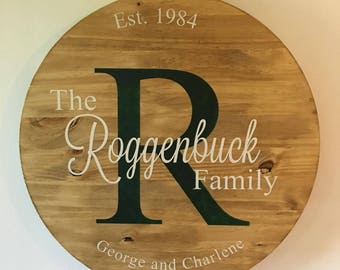 "18"" Personalized Round Wood Sign"