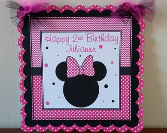 Minnie Mouse Birthday party, Minnie Mouse Welcome Sign, Minnie Mouse Door Sign, Pink and Black Minnie Mouse Birthday Decorations
