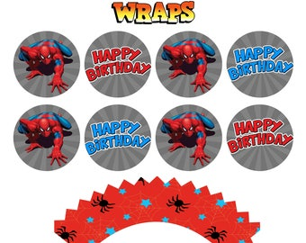 Spiderman Cupcake Toppers and Wraps