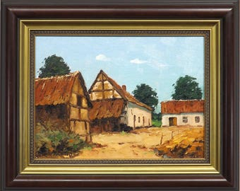 Original Belgian Oil Painting 'Farmyard'
