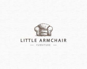 Furniture logo - Armchair Logo - Pre made logo - Customizable - Rustic logo design - HAND DRAWN logo