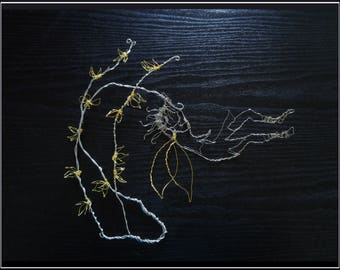 Fairy Wall Art - Fairy Sculpture - Wall Sculpture - Forsythia Fairy Wire Art - Wire Sculpture - Flower Art - Unique Home Decor - Metal Art