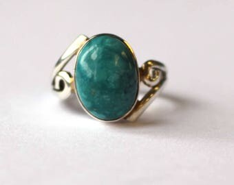 Turquoise spiral detail ring (Medium)