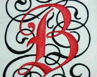 Letter B embroidery design for Machine embroidery. Monogram embroidery design In 2 Sizes. Instant download
