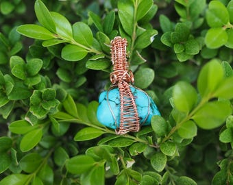 Copper wire wrapped turquoise stone pendant