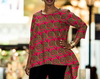 Custom African print high-low top (patterns vary)