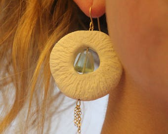 Beaded Fluorite and and Porcelain Handmade Earings