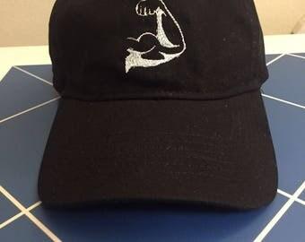 100% cotton black Arm flex, black dad hat