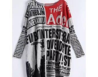 women's newspaper print sweater dress