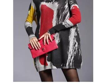 Women's stylish jewel neck color block sweater dress