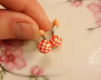 Belly button ring navel ring checkered belly ring orange belly ring body jewelry piercing 14G belly ring 14g belly ring
