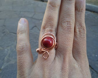 copper wire ring with bamboo coral natural stone