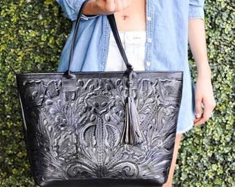 Theresa large chiseled black tote handbag