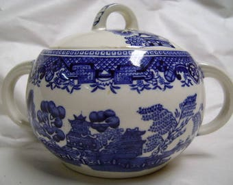 Woods Ware Lidded Sugar Bowl Blue Asian Pattern