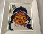 "Vintage Native American Baby Girl Framed Needlepoint Indian Head Dress - ""Reserved for L"""