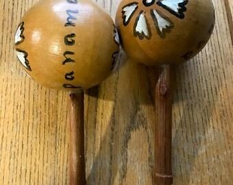 Vintage Panama Handmade Maracas
